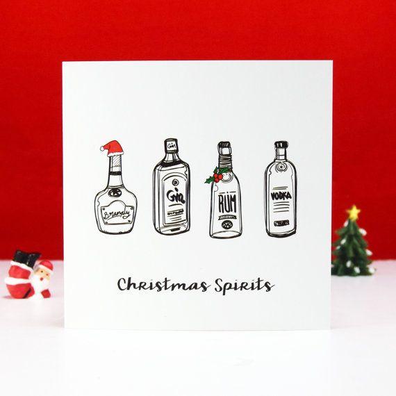 Christmas Spirits Funny Christmas Card Funny Holiday Card Etsy Funny Christmas Cards Xmas Cards Christmas Card Set
