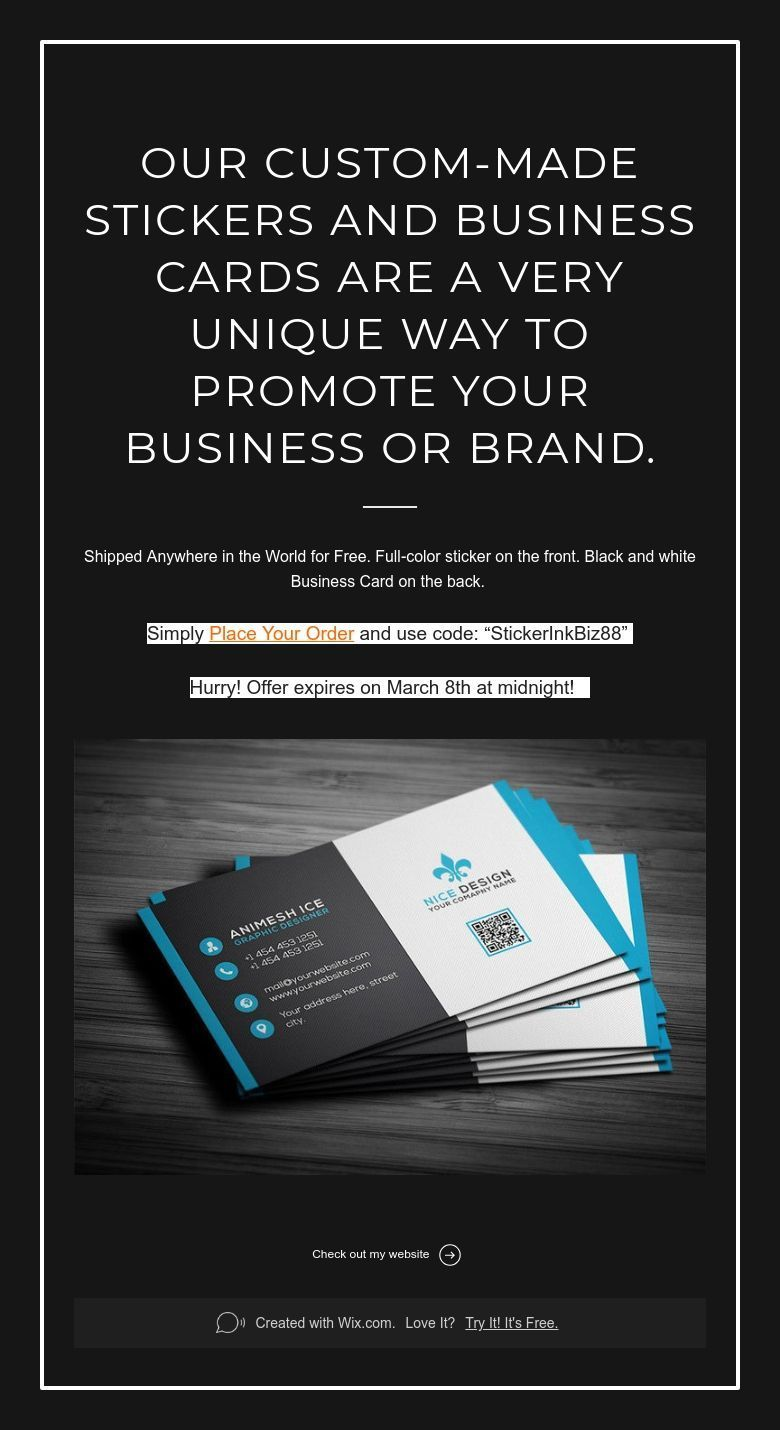 Our Custom Made Stickers And Business Cards Are A Very Unique Way To Promote Your Business Or Brand Printing Business Cards Promote Your Business Custom