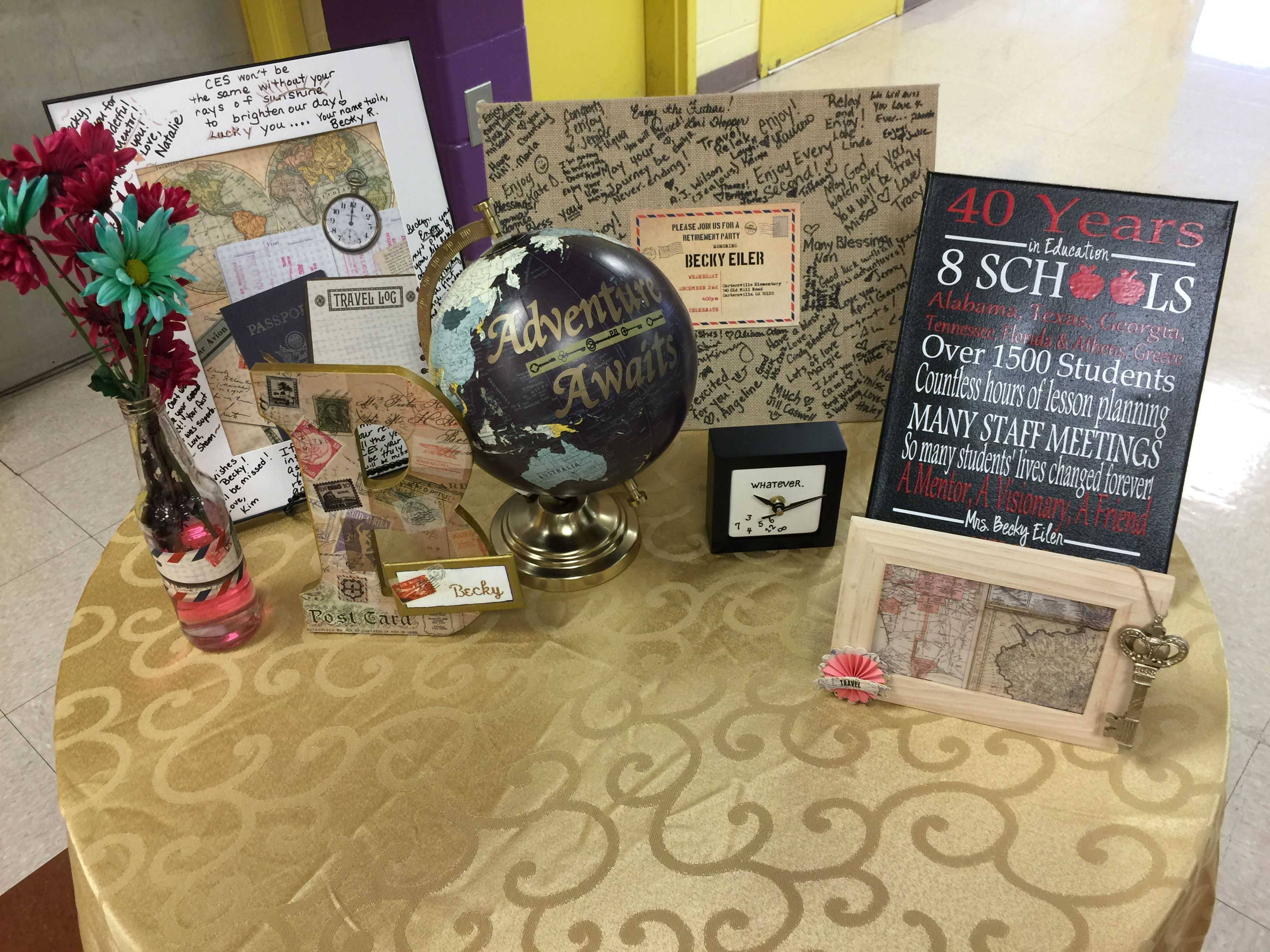 Travel Retirement Reception Gift Table