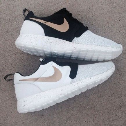 Nike Roshe Run Mesh White Black Golden Shoes Mens Womens roshebop