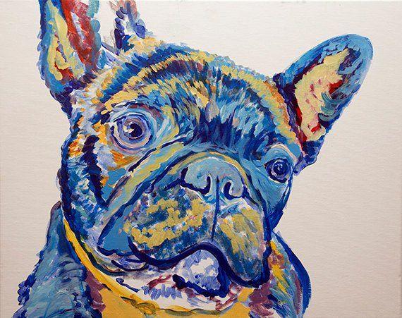"Oscar Jetson on Twitter: ""French Bulldog painting art print ..."