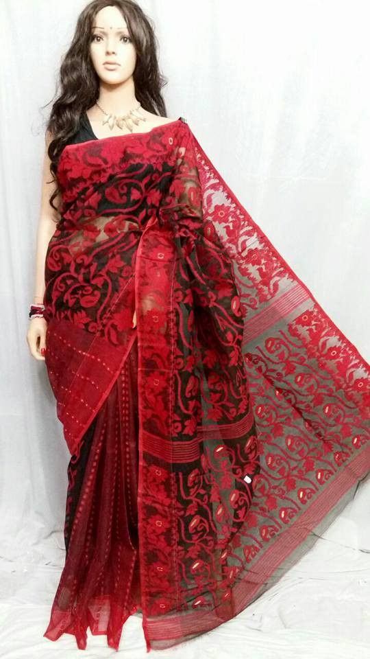 562392c149 Red 1 Dhakai Jamdani Sarees | saree in 2019 | Dhakai jamdani saree ...