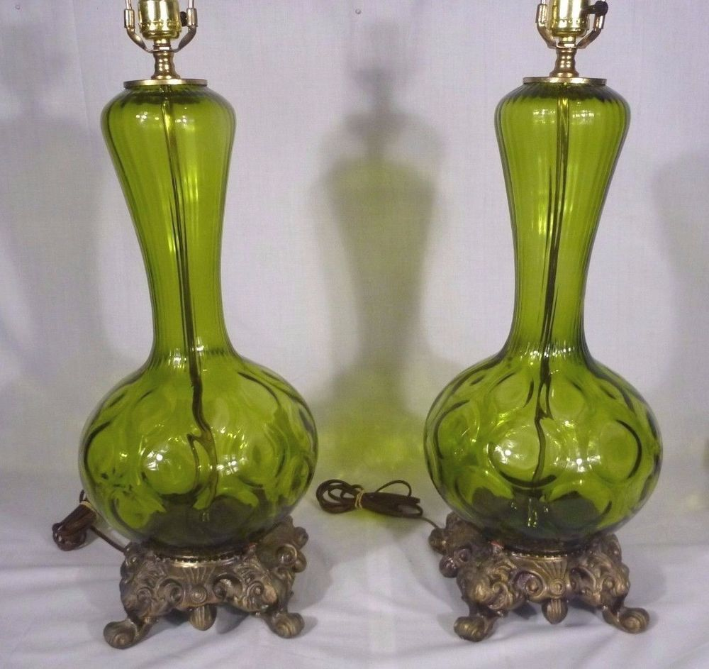 Pr vintage mid century green blown glass table lamps hollywood pr vintage mid century green blown glass table lamps hollywood regency aloadofball Gallery