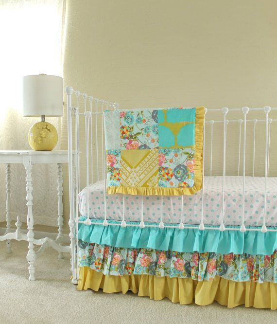 Lily Belle Blend Floral Baby Girl Nursery Set in Yellow ...