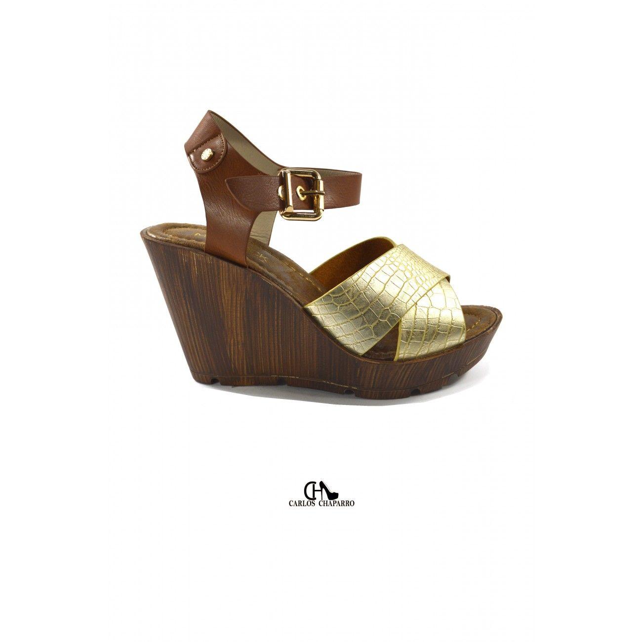 Sandalia de cuña cuero serpiente oro con plataforma SA12