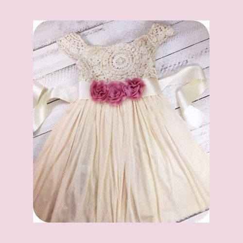 Three Pink Flower Dress #flowerdresses