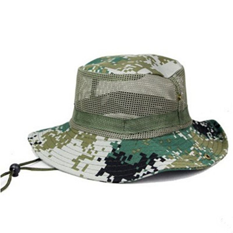 spring summer men camouflage bucket hats fixed rope mesh ventilation basin caps outdoors mountaineering sunscreen cap