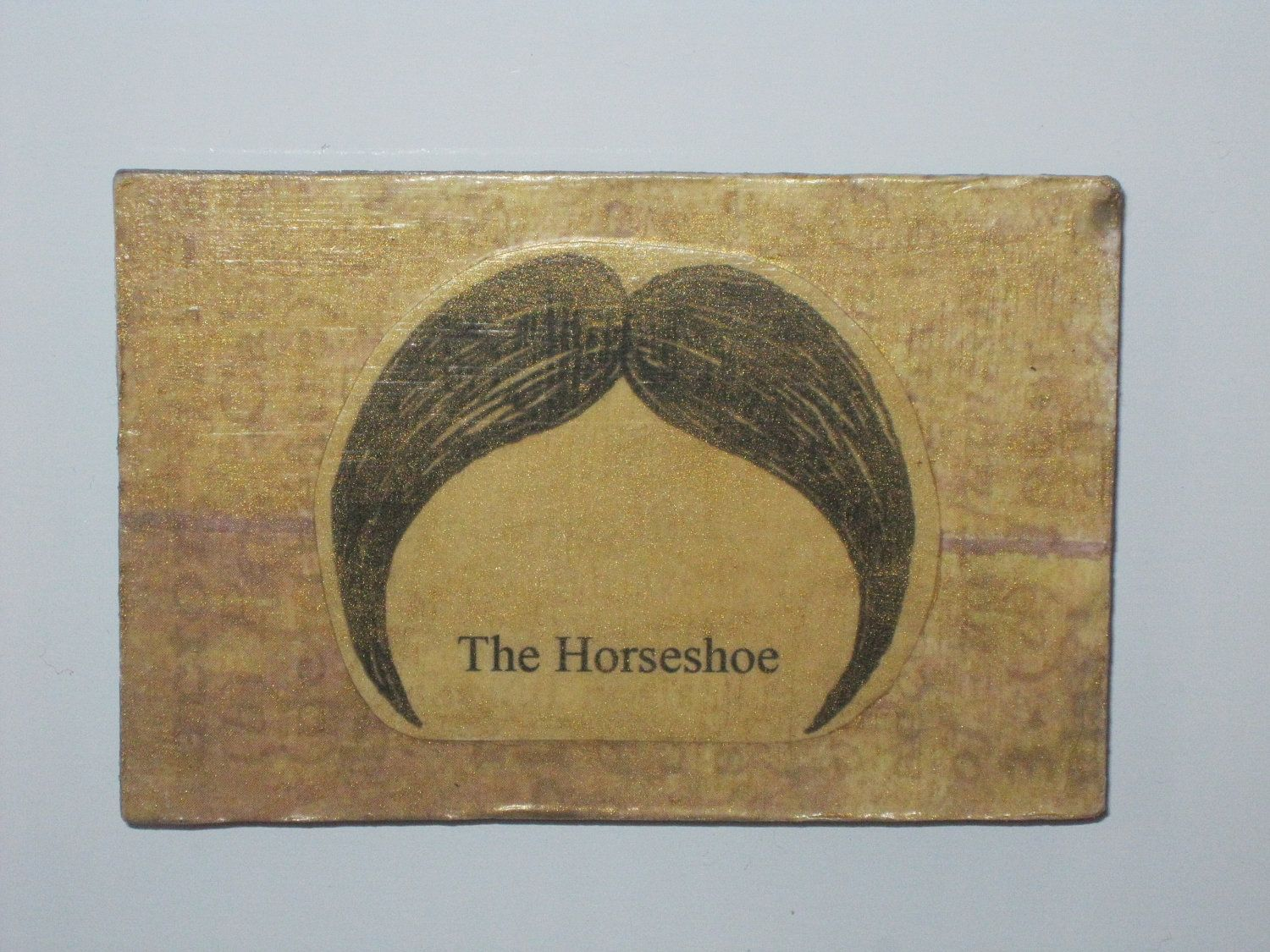 Horseshoe Mustache Decoupage Wood Magnet | My DIY | Pinterest