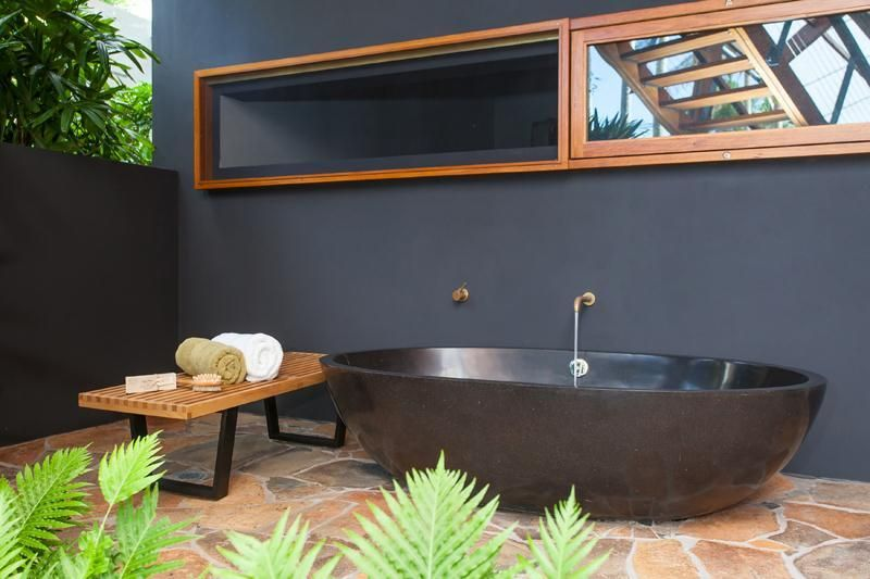 Black Bathtub Outdoor Bathroom With Energetic Style
