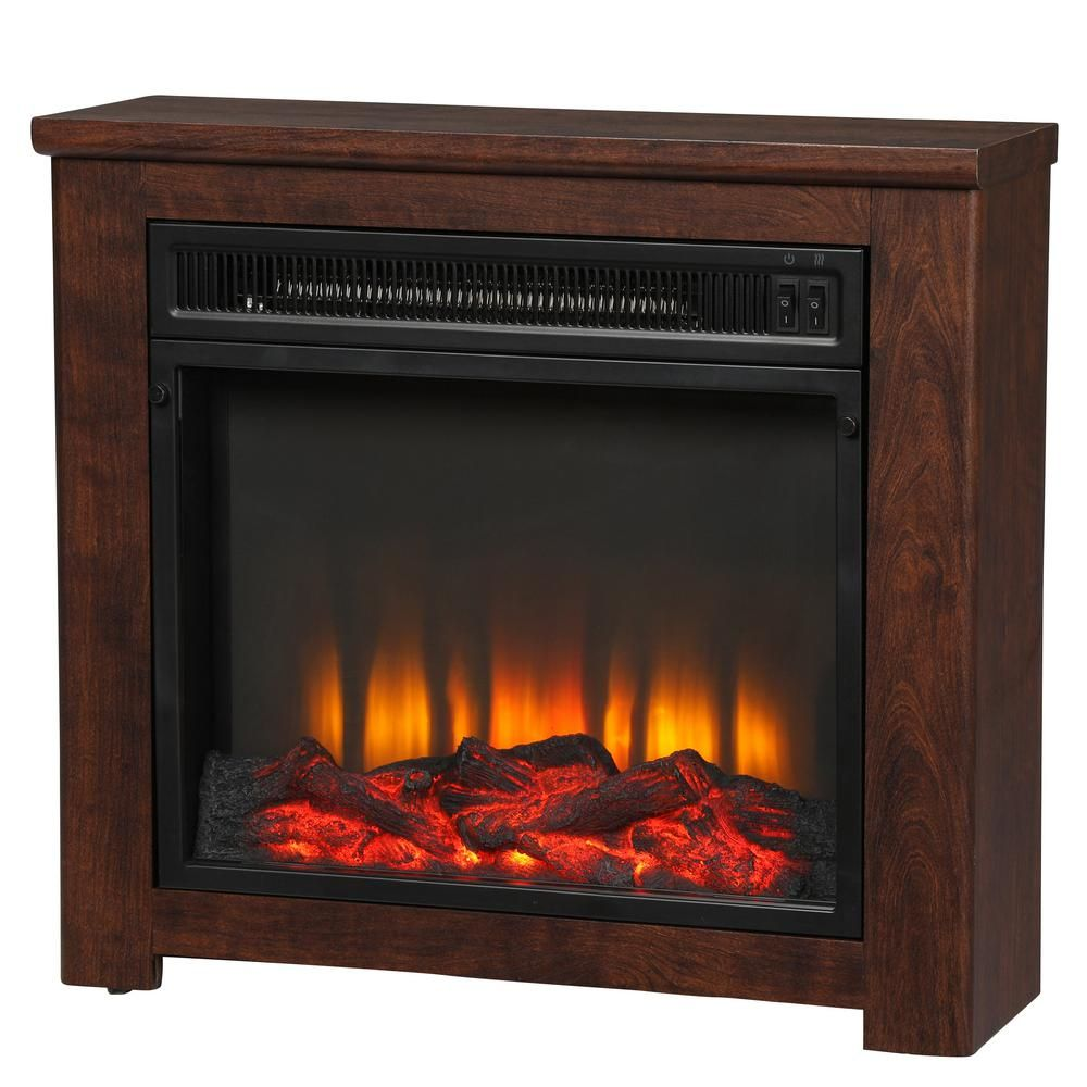 Hampton Bay Patterson 24 In Freestanding Electric Fireplace In Cherry 112333 The Home Depot Electric Fireplace Fireplace Hampton Bay