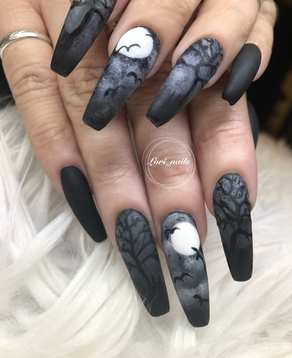 Black And Gray Halloween Nails With Trees And Bats Halloween Acrylic Nails Halloween Nail Designs Gothic Nails