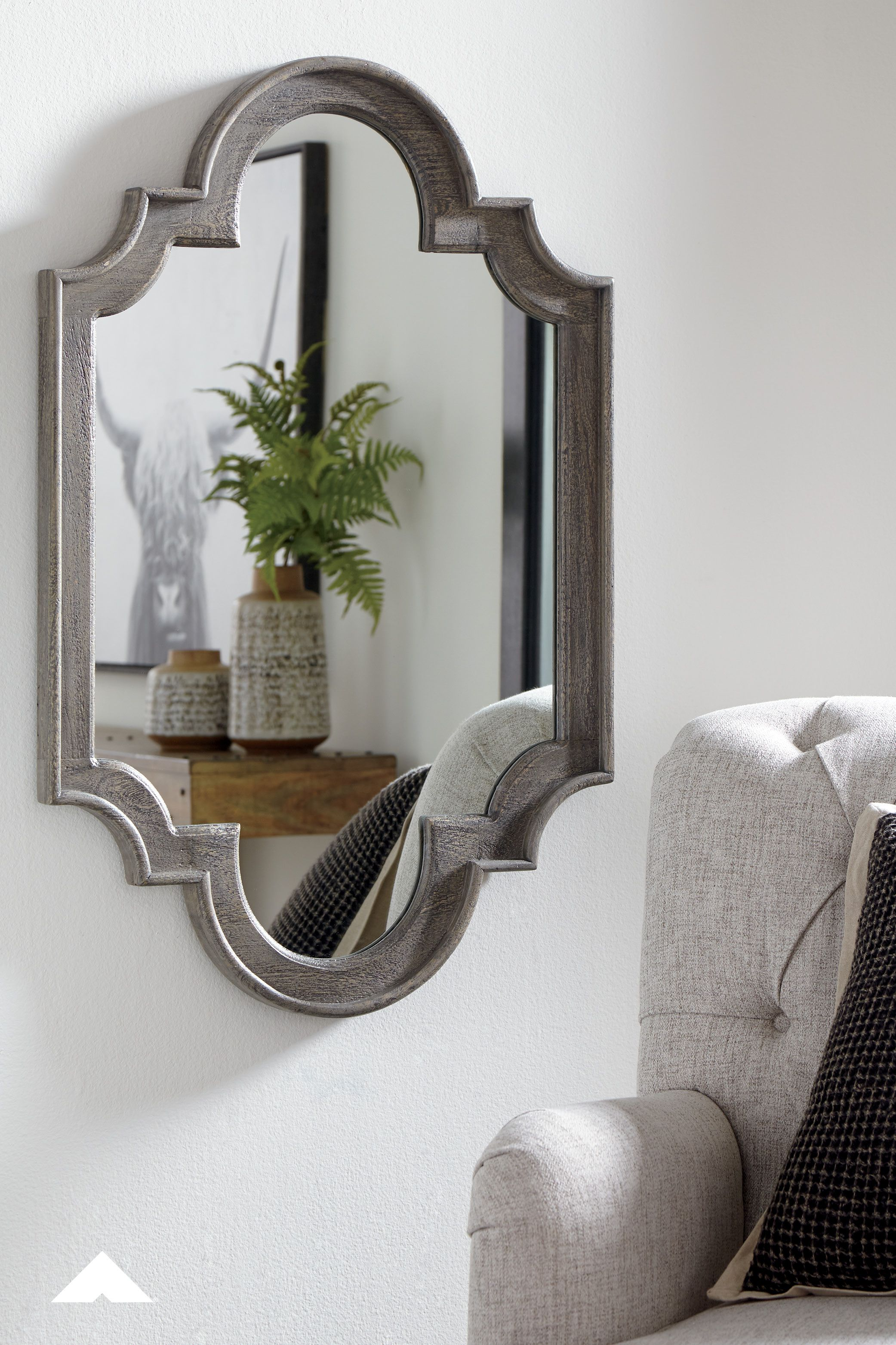 Williamette Antique Gray Accent Mirror Take A Fresh Turn On Tradition With This Striking Accent Mirror Richl Accent Mirrors Rustic Mirrors Mirror Wall Decor