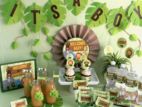 jungle safari theme baby shower printable party package decorations