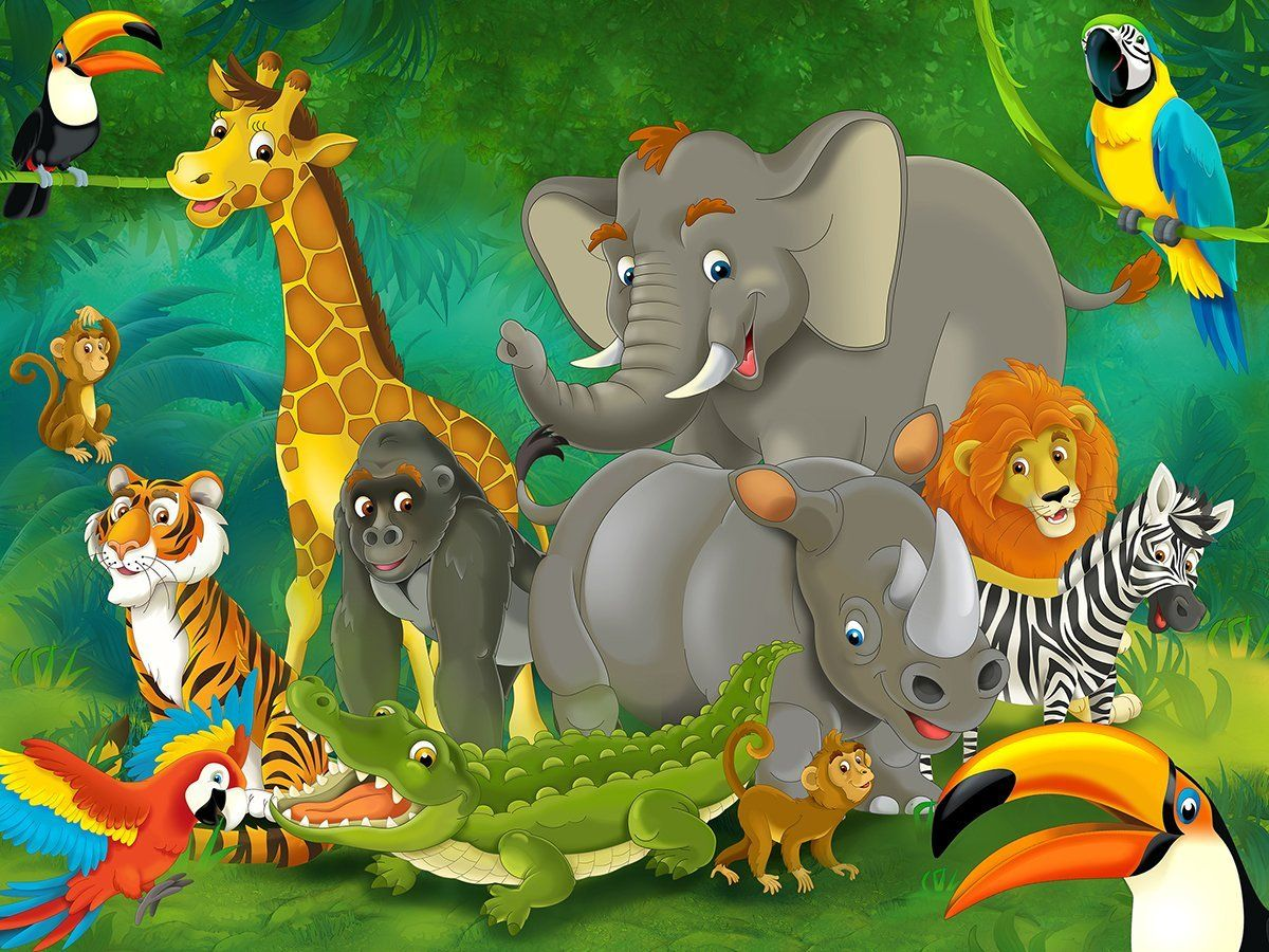 Wild animals cartoon images animals pinterest wild for Cartoon mural wallpaper