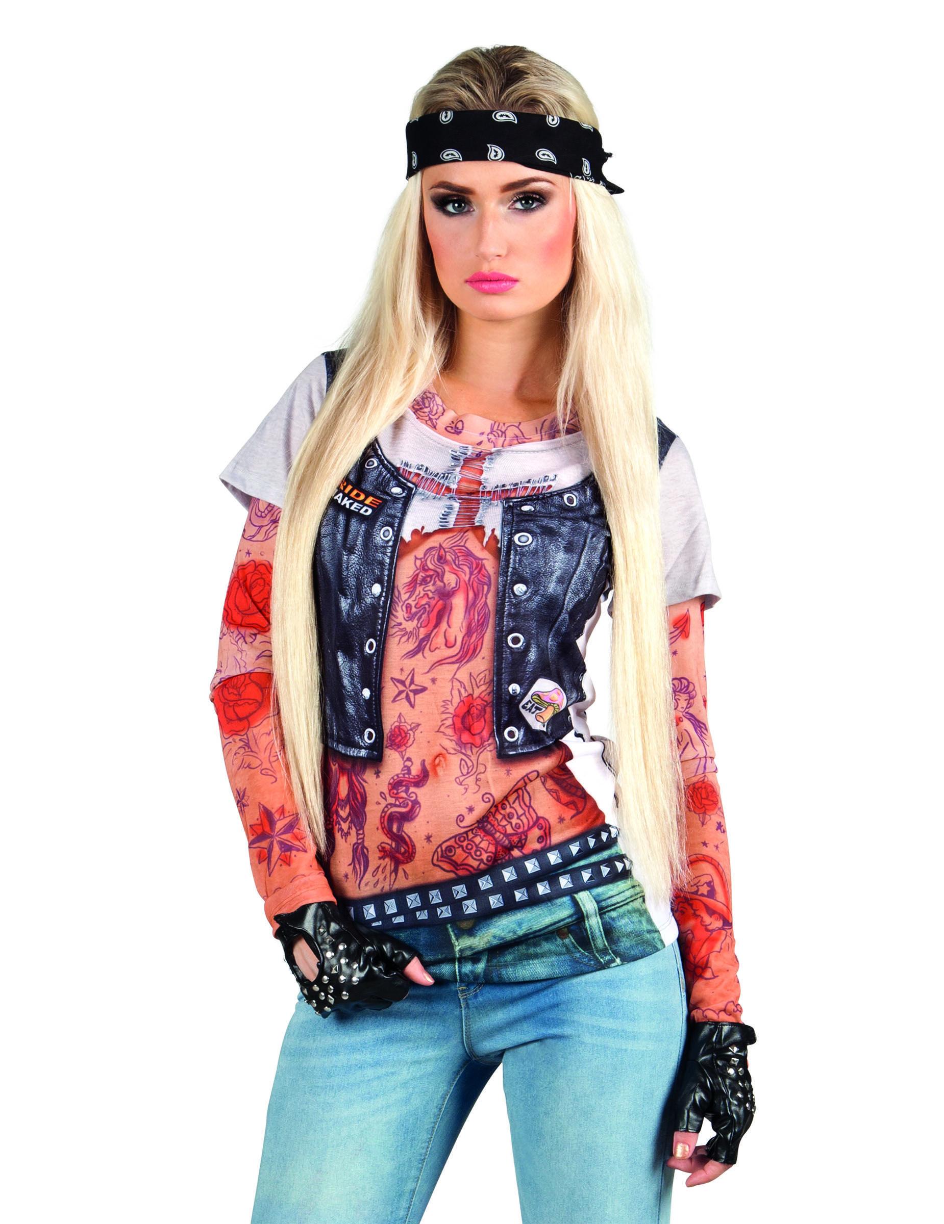 6fd5aa971 Camiseta roquera tatuajes mujer en 2019 | Disfraces | Rockera ...