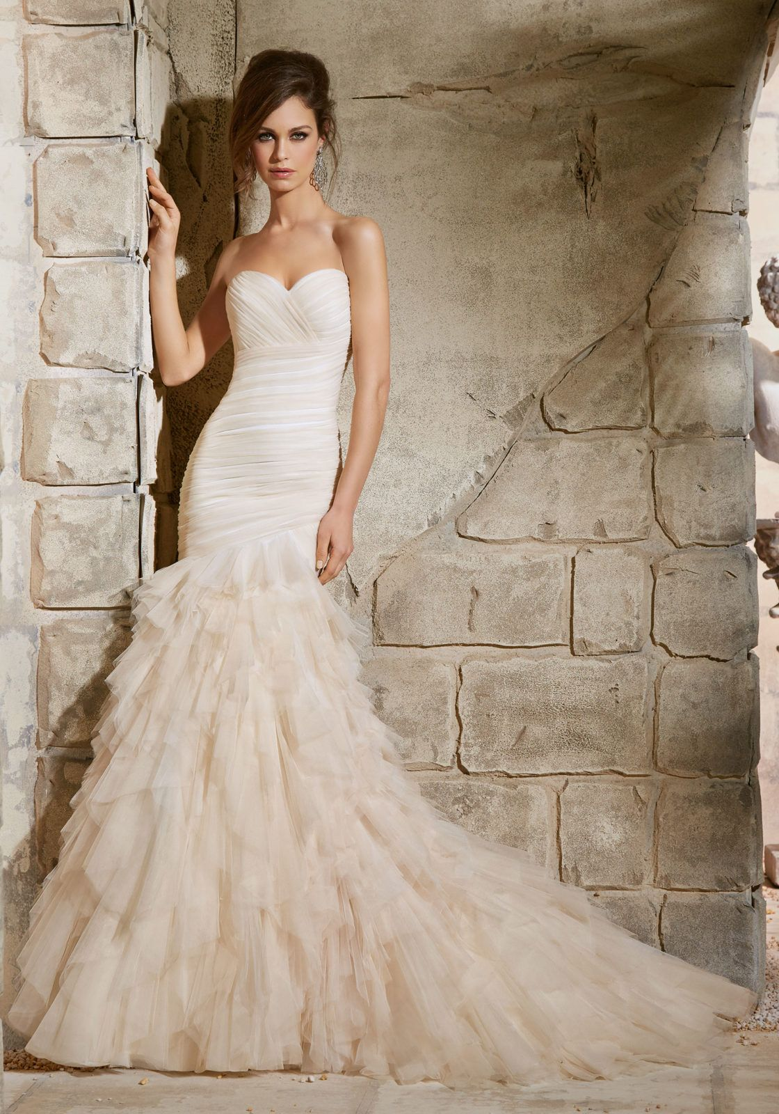 Asymmetrically draped soft net gown with ruffles morilee bridal