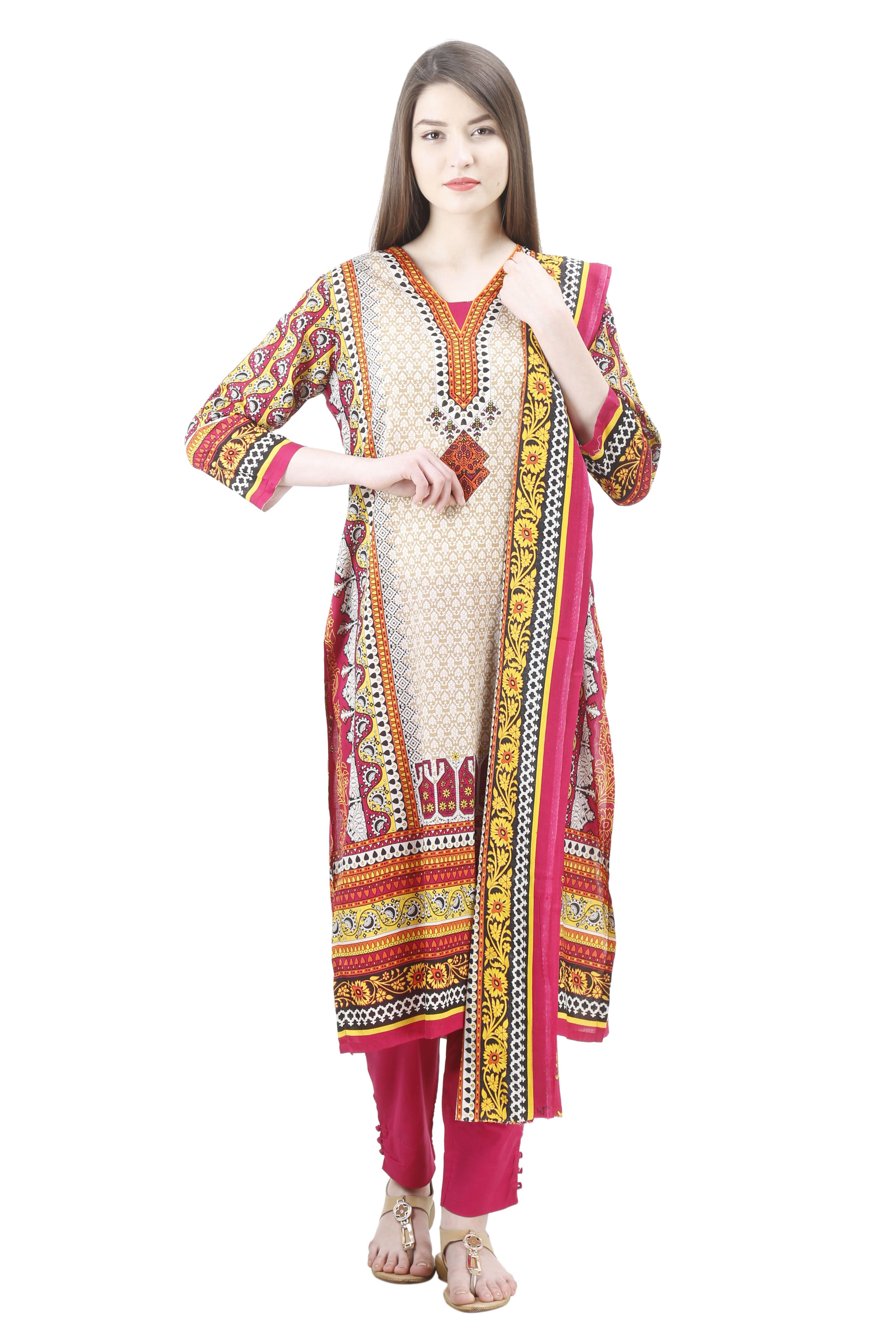 b22c8d0cc4 uptown women's stitched 100% pakistani printed lawn suit printed pakistani  cotton lawn suit the suit set has kurta , cigarette pants and dupatta