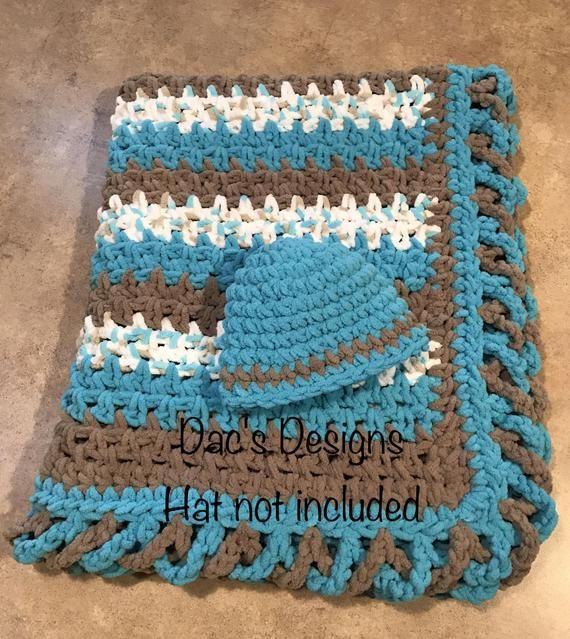 Striped Baby Blanket Pattern w/ Crisscross Edge #c2cbabyblanket