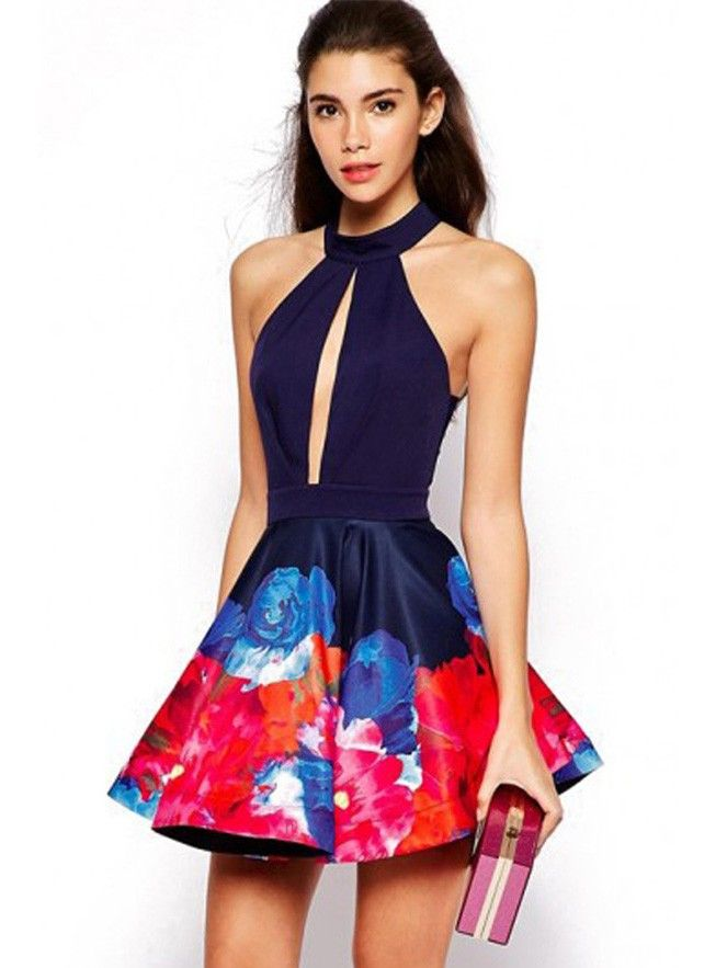 beeb771daa8c Sexy Open Chest Flowers Printed Stitching Swing Halter Mini Dress Open Back