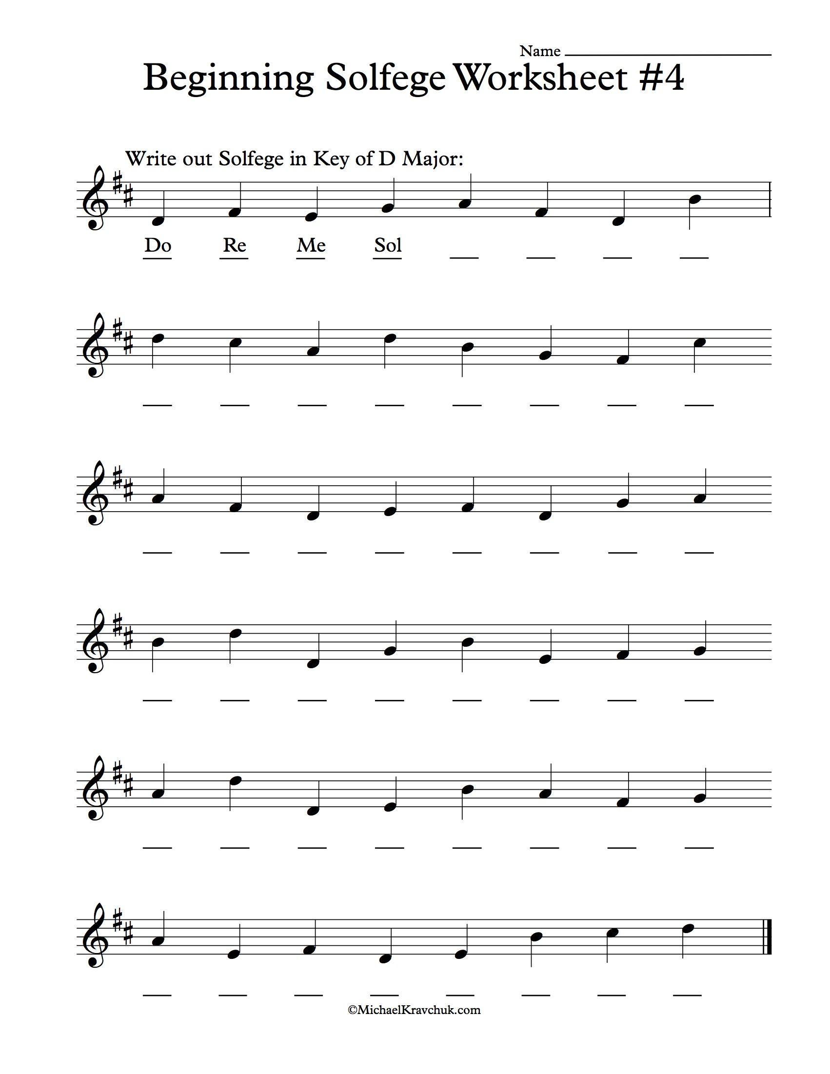 Beginning Solfege Worksheet # 4 For Classroom Instructions ...