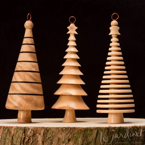 Hand Turned Christmas Tree Holiday Ornament Style 3