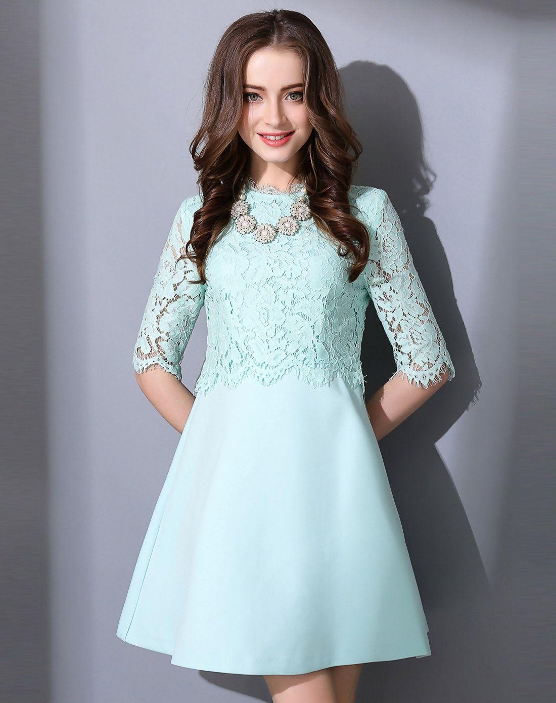 AdoreWe #VIPme A-Line Dresses - FAN SHANG Green Lace Half Sleeve ...