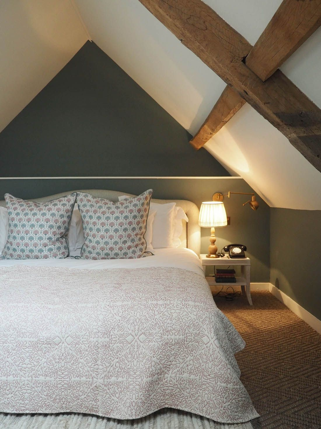 Offset window behind bed  a long weekend at babington house  traditional interiors  country