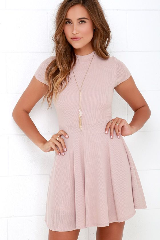 Endless Entertainment Blush Short Sleeve Skater Dress In 2020 Blush Dresses Short Short Dresses Cute Dresses
