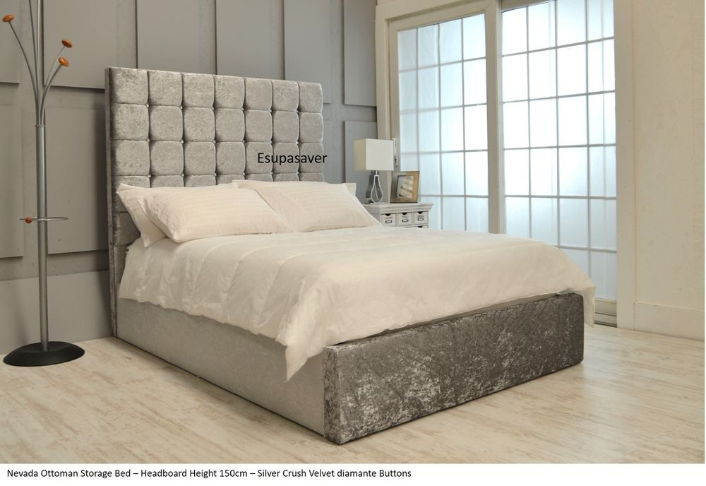 Nevada Ottoman Storage Bed Upholstered in Crushed Velvet Fabric ...