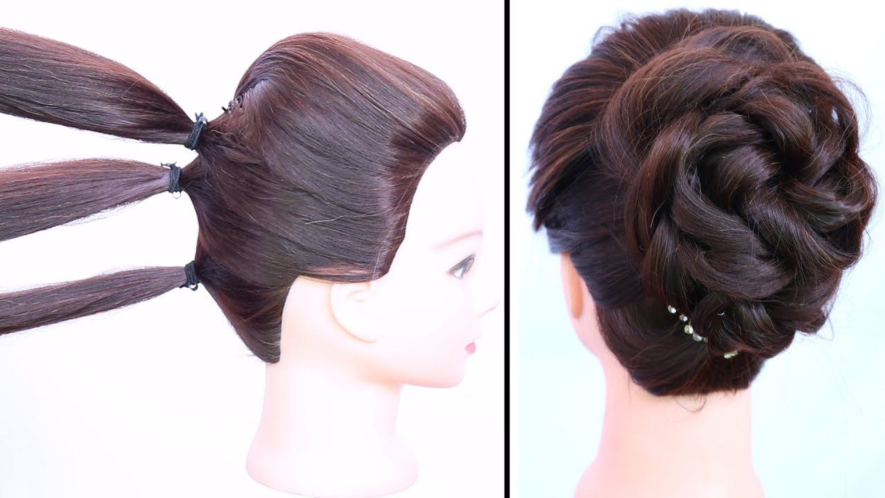 easy messy bun with trick for gown, lehnga, party & weddings || updo hairstyle || prom hairst ...