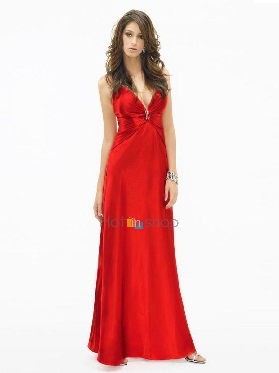 Glittering rouge satin halter gaine décolleté robe de jewel