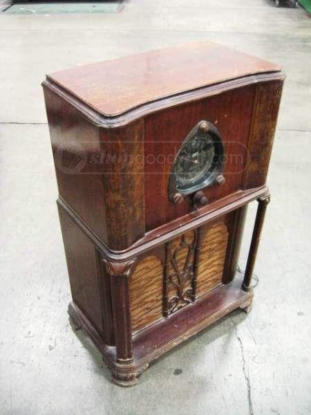 1930 S Zenith Long Distance Floor Radio Art Deco Coisa Antiga