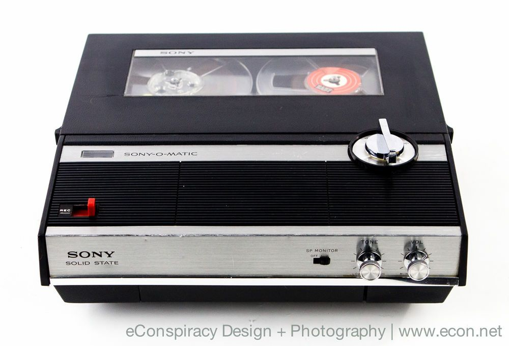 Vintage Sony Tc 210 Mini Portable Open Reel To Reel Tape Recorder