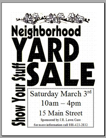 neighborhood garage sale flyer