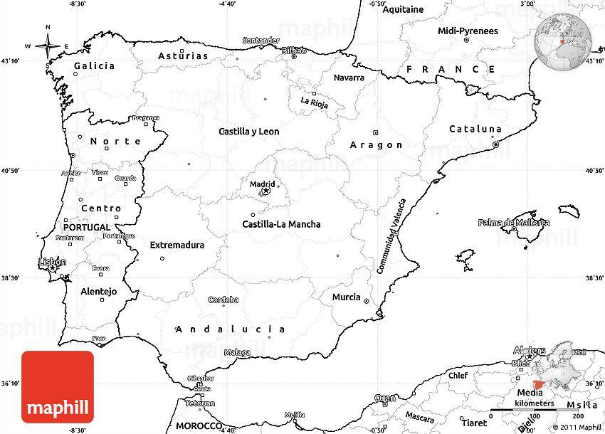 Blank Simple Map Of Spain Map Of Spain Map Spain