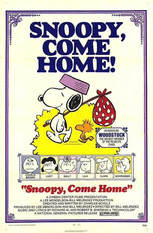 Snoopy Come Home Movie Poster 1972 Snoopy Charlie Brown