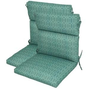 Hampton Bay Rhodes Trellis High Back Outdoor Chair Cushion 2 Pack Discontinued 7718 02220000 The Home Depot Outdoor Chairs Outdoor Chair Cushions Patio Chair Cushions