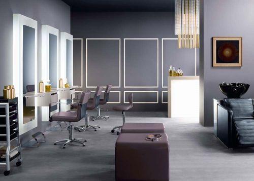 Salon de belleza con paredes grises salones de belleza - Esteticas decoracion interiores ...