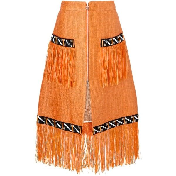 Isa Arfen Sunset Orange Raffia Trim Skirt ($460) ❤ liked on Polyvore featuring skirts, bottoms, orange, fringe skirt, calf length skirts, slit skirt, zipper skirt y orange skirt