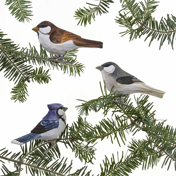 Carved Wood Bird Clip Ornaments Bird Christmas Ornaments Wood Clips Bird Ornaments