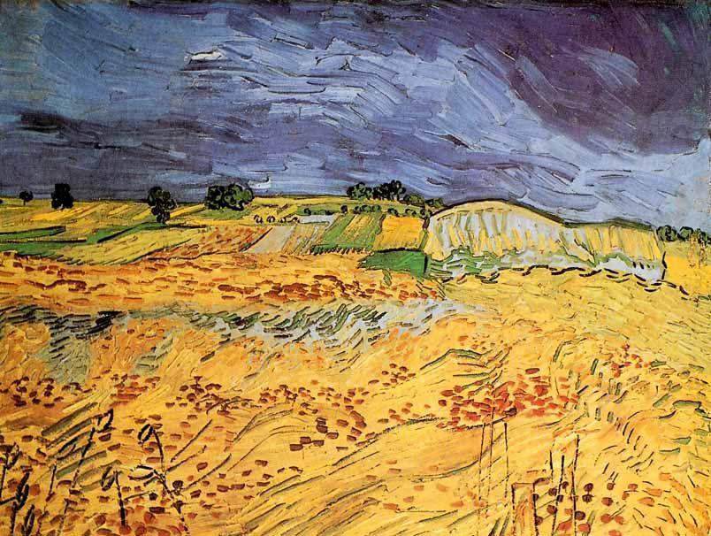 Vincent van gogh post impressionism auvers paysage champ et ciel orageux 1890 - Peinture a l huile van gogh ...