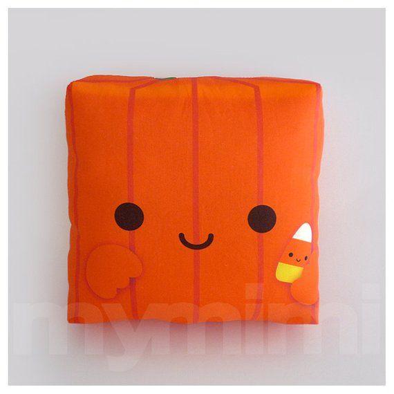 "Decorative Pillow, Pumpkin, Halloween Decor, Orange Pillow, Pumpkin Pillow, Kawaii Pillow, Stuffed Toy, Room Decor, Childrens Toys, 7 x 7"""