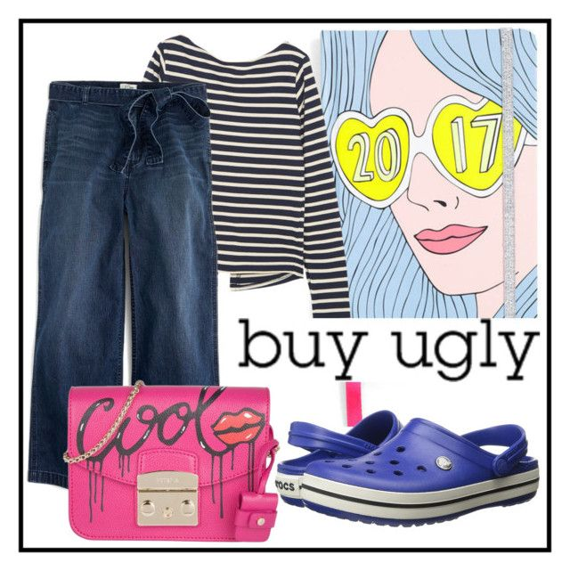 """""""Buy ugly shoes!"""" by siska-macstevens ❤ liked on Polyvore featuring Jacquemus, J.Crew, Crocs and Furla"""