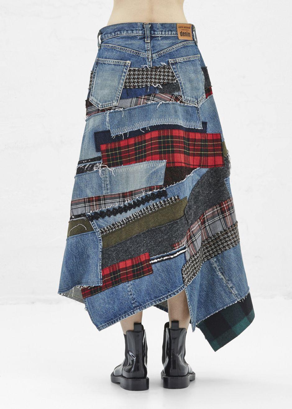junya watanabe denim midi skirt indigo patchwork denim