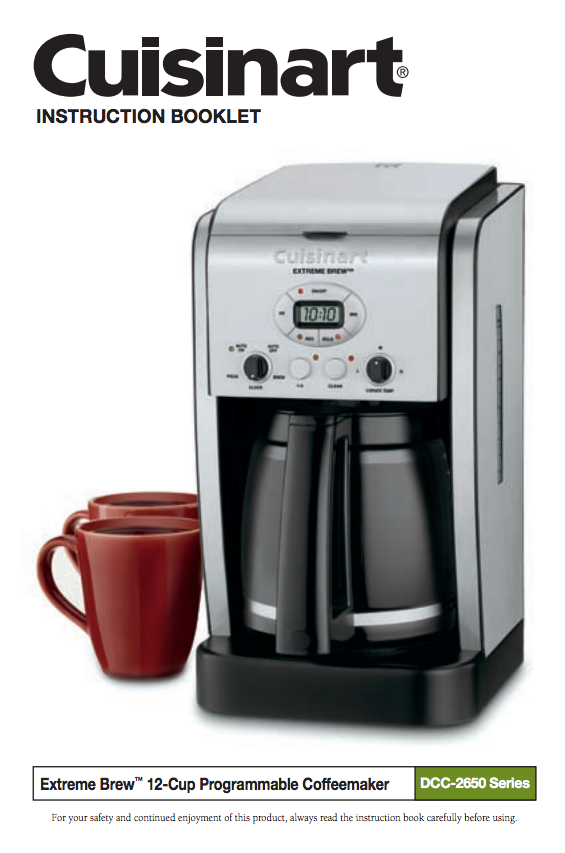 Extreme Brew 12 Cup Programmable Coffeemaker Dcc 2650 Product Manual Cuisinart Coffee Maker Best Coffee Maker Best Drip Coffee Maker
