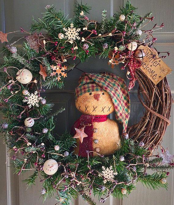 Primitive Snowman Christmas Wreath Christmas Wreath Primitive Wreath Christmas Decor Christmas Wreaths Christmas Decorations Holiday Wreaths