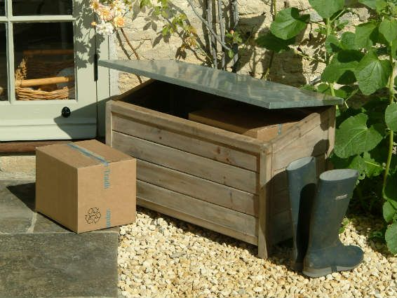 Outdoor Wooden Storage Box. Wooden Storage Box With Hinged Galvanised Lid.  Perfect For Storing