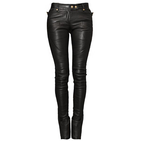 BALMAIN Skinny Black Leather Pants found on Polyvore