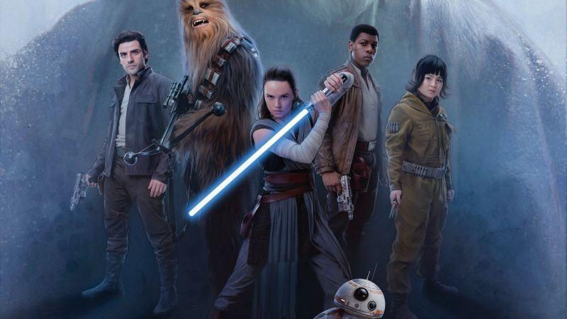 Star Wars The Last Jedi Oscar Isaac John Boyega Daisy Ridley Kelly Marie Tran Chewbacca Bb 8 Rey Poe Dameron Star Wars Wallpaper Last Jedi Star Wars