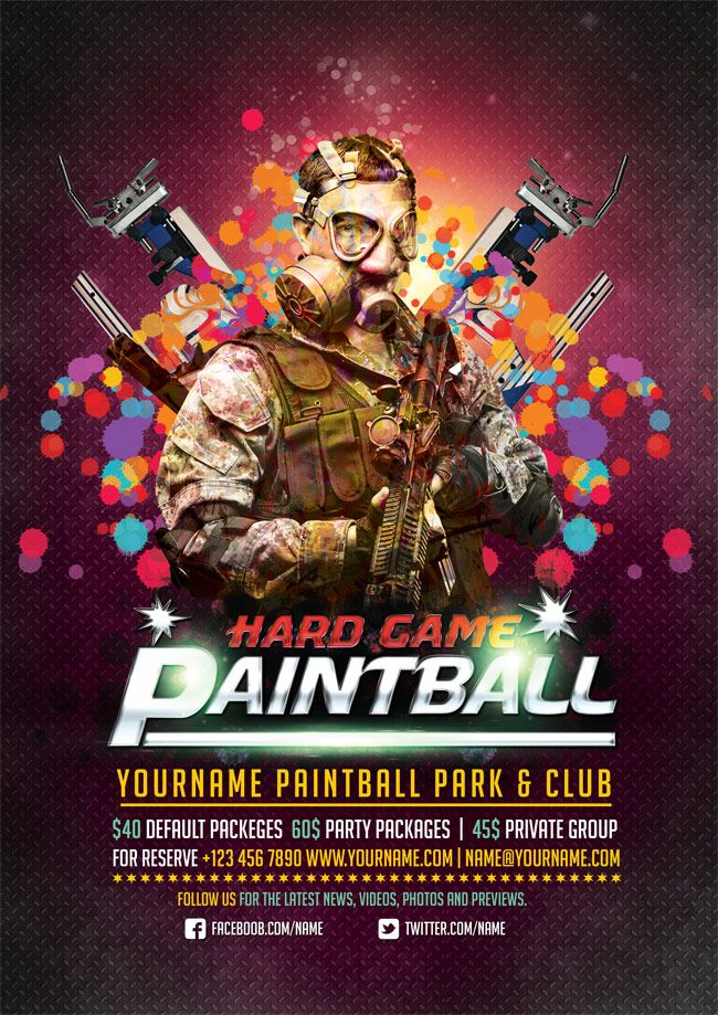 free-paintball-psd-flyer-templates Restaurant  coffee lounge